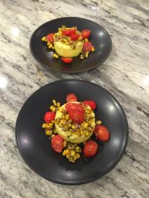 Savory Corn Flan with Charred Corn and Tomatoes