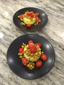 Savory Corn Flan with Charred Corn and Tomatoes