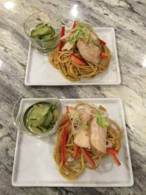 Grilled Chicken Breasts on Sesame Noodle Salad with Spicy Asian Cucumbers