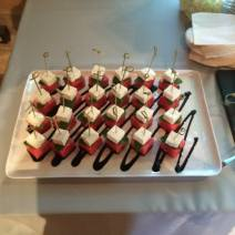 Watermelon and Feta Salad Skewers with Balsamic Reduction