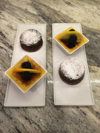 Bittersweet Chocolate Bombes with Grand Marnier Creme Brulee